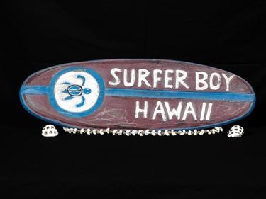 Surfer Boy Hawaii Surf Sign 20 Weathered Surfing Decor