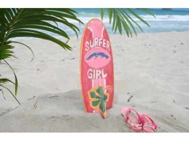 Surfer Girl Surf Sign W Fin 20 Surfing Decor