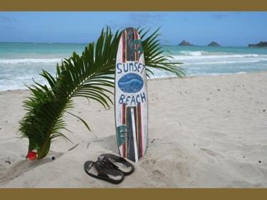 Sunset Beach Surf Sign W Fin 40 Surfing Decor