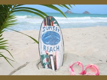 Sunset Beach Surf Sign W Fin 14 Surfing Decor