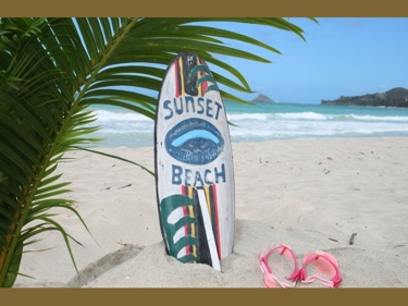Sunset Beach Surf Sign W Fin 20 Surfing Decor