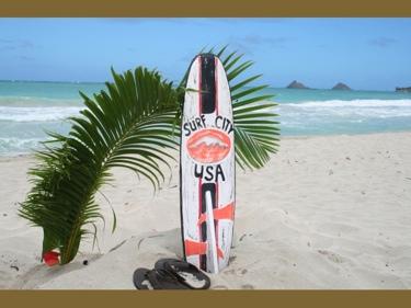 Surf City Usa Surf Sign W Fin 40 Surfing Decor