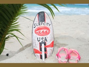 Surf City Usa Surf Sign W Fin 14 Surfing Decor