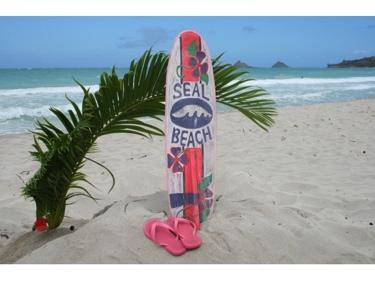 Seal Beach Surf Sign W Fin 40 Surfing Decor