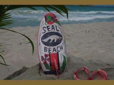 Seal Beach Surf Sign W Fin 14 Surfing Decor