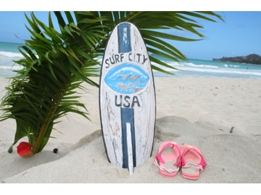 Surf City Usa Surf Sign W Fin 20 Surfing Decor