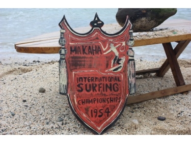 Makaha International Surfing 1954 Weathered Surf Sign 20