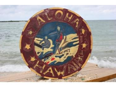 Aloha Hawaii Vintage Surf Sign 16 Made In Hawaii