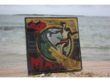 Malibu California Vintage Surf Sign 12 Made In Hawaii