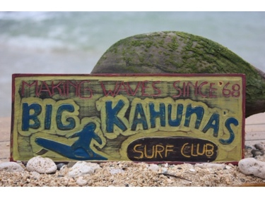 Big Kahunas Surf Club Surfing Wood Sign 12