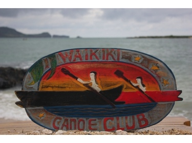 Waikiki Canoe Club Vintage Outrigger Canoe Sign 22 Made In Hawaii