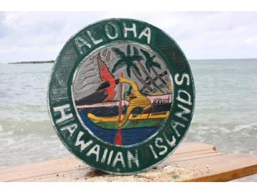 Aloha Hawaiian Islands Vintage Outrigger Canoe Sign 16 Made In Hawaii
