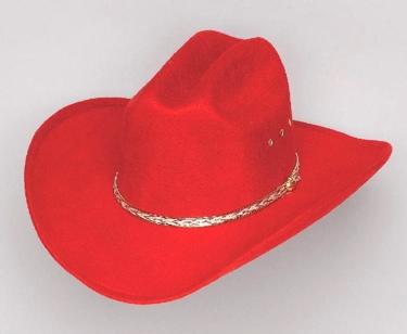*RED* COWBOY FLT HAT *ELASTIC