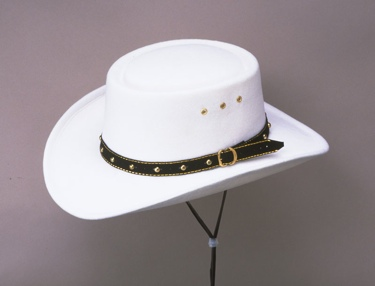 White Faux Felt Gambler Hat Sized