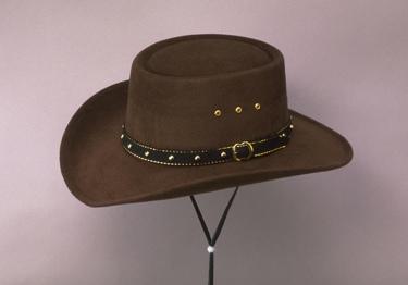Brown Faux Felt Gambler Hat *Elastic