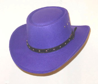 Purple Faux Felt Gambler Hat *elastic