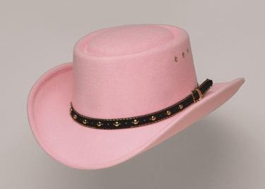Pink Faux Felt Gambler Hat *Elastic