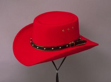 Red Faux Felt Gambler Hat *elastic