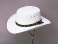 White Faux Felt Gambler hat *Elastic