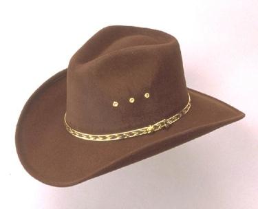 Brown Pinch Front Faux Felt Hat *Elastic