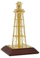7 Inch Gold Plated Lighthouse Decor