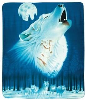 Fleece Blanket Wolf Howling with Moon 50 X 60