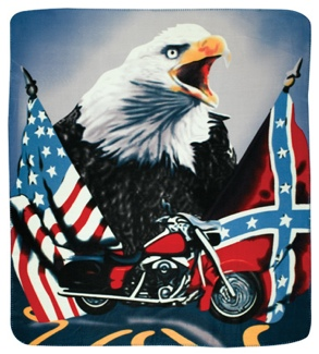 Fleece Blanket EAGLE Motorcycle Rebel Flag Am Flag 50 X 60
