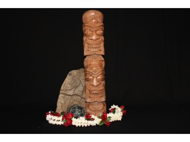 Hawaiian Lucky Money Tiki Totem 20 Monkey Pod Wood