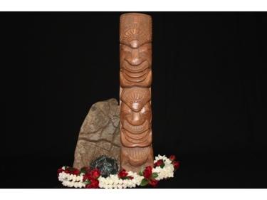 Hawaiian Strength Health Tiki Totem 20 Monkey Pod Wood