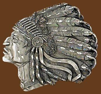 Indian Head Belt Buckle Diamond Cut 3-1/2 x 3