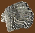 Indian Head Belt Buckle Diamond Cut 3-1/2 x 3