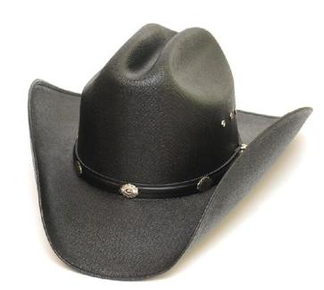 *BLACK* Cattleman Straw Hat Silver Conchos *Elastic