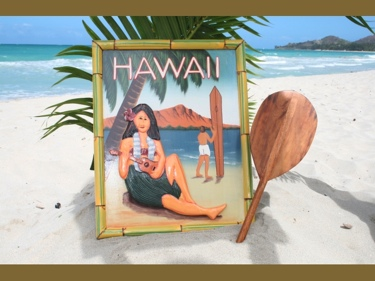 Vintage Sign Hawaii Diamond Head 24 X 16 Hawaiian Decor