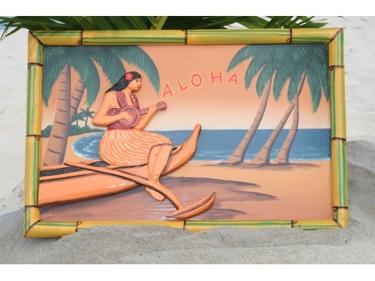 Vintage Sign Aloha Canoe Ukulele 24 X 16 Hawaiian Surf Decor