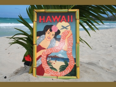 Vintage Sign Hawaii Panam 24 X 16 Hawaiian Surf Decor