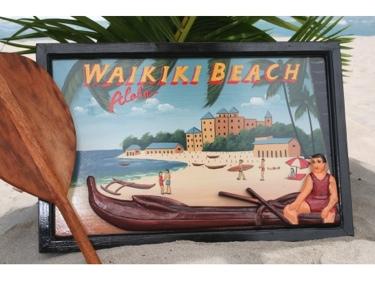 Vintage Sign Waikiki Beach Canoe 24 X 16 Hawaiian Surf Decor