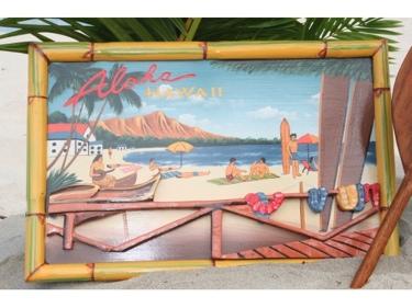 Vintage Sign Aloha Hawaii Diamond Head 24 X 16 Hawaiian Surf Decor