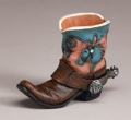 Tiny Boot Toothpick Holder Blue Horsehead Design 4-1/2 x 3-1/2