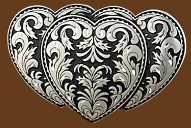 Triple Heart Belt Buckle 3-1/4 x 2-1/8
