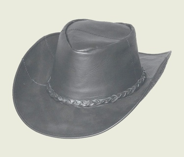 Black Patch Leather Hat