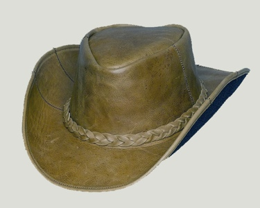Brown Patch Leather Hat 