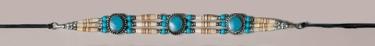 Genuine Bone Choker Necklace or Hatband- Turquoise