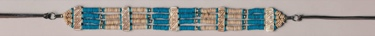 Genuine Bone Choker Necklace or Hatband- Turquoise & Brown