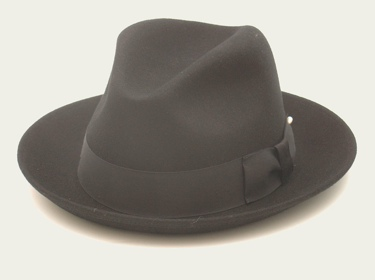 Black Wool Felt Gangster Hat