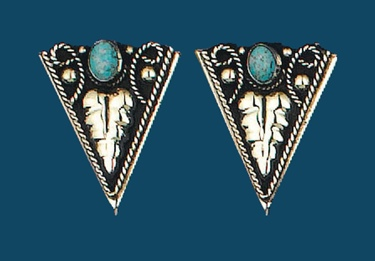 German Silver & Turquoise Collar Tips Screw On