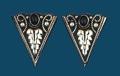 German Silver & Onyx Collar Tips