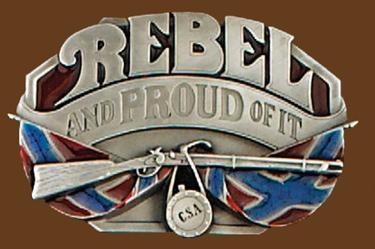 Rebel & Proud of it Belt Buckle 3-1/2 x 2-1/4