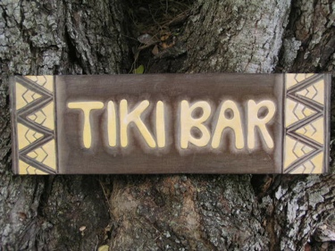 Tribal Tiki Bar Sign 24 Antique Finish Yellow