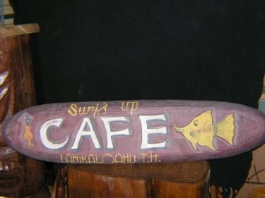 Cafe Lanikai Oahu Vintage Tiki Sign 36 Made In Hawaii