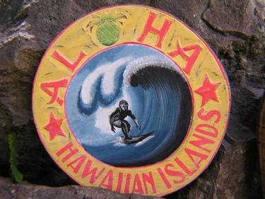 Aloha Hawaiian Islands Vintage Tiki Sign 16 Made In Hawaii